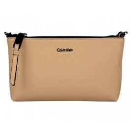 Calvin Klein Dámská kožená kabelka Saffiano Leather Chainlink Crossbody Bag - Beige