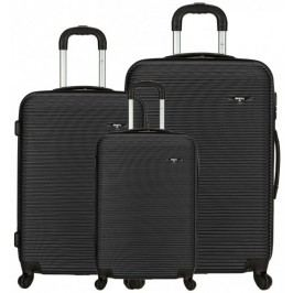 Sirocco Cestovní kufry sada T-1039/3 ABS černá - II. jakost