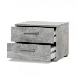 Produkt FARELA Noční stolek s 2 zásuvkami Nora, 35 cm, beton Noční stolky