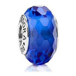 Pandora Modrý korálek z broušeného skla 791067 stříbro 925/1000
