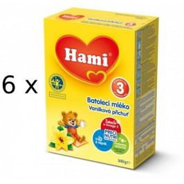 Hami 3 Batolecí mléko s vanilkovu příchutí- 6 x 500g - II. jakost