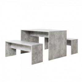 FARELA Jídelní stůl + 2 lavice Rome (sada 3 ks), beton