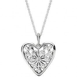 Pandora Dlouhý náhrdelník Srdce zimy 396369CZ stříbro 925/1000