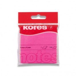 Blok samolepicí Kores 75 x 75 mm/100 růžový neon