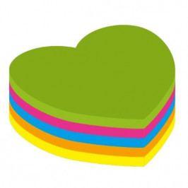 Blok samolepicí Kores neon 70 x 70 mm srdce/250 listů mix 5 barev