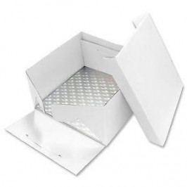 PME Podložka dortová stříbrná čtverec 25,4cm x 25,4cm + dortová krabice s víkem
