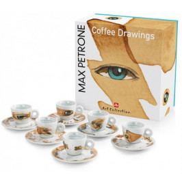 illy Sada šálků na espresso Max Petrone COFFEE DRAWINGS, 6 kusů