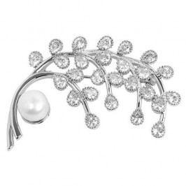 JwL Luxury Pearls Třpytivá brož Větvička s pravou perlou a krystaly JL0379