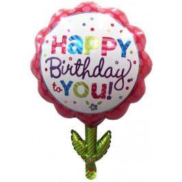 Toro Balónek Happy Birthday Kytka 55 x 75 cm