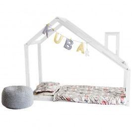 Dětská bílá postel z borovicového dřeva Benlemi Deny,80x160cm