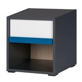 Černobílý noční stolek v borovicovém dekoru Szynaka Meble Ikar