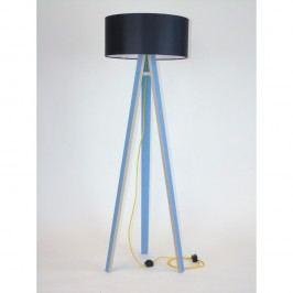 Modrá stojací lampa s černým stínítkem a žlutým kabelem Ragaba Wanda
