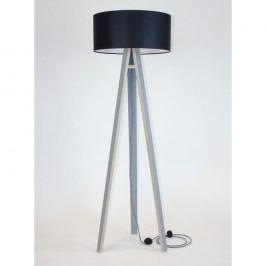 Šedá stojací lampa s černým stínítkem a černo-bílým kabelem Ragaba Wanda