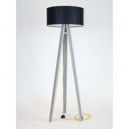 Šedá stojací lampa s černým stínítkem a žlutým kabelem Ragaba Wanda