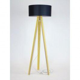 Žlutá stojací lampa s černým stínítkem a transparentním kabelem Ragaba Wanda