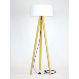Žlutá stojací lampa s bílým stínítkem a černým kabelem Ragaba Wanda