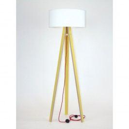 Žlutá stojací lampa s bílým stínítkem a červeným kabelem Ragaba Wanda