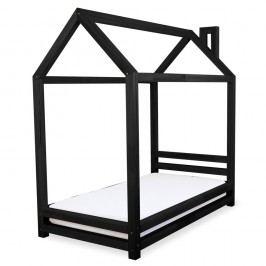 Dětská černá postel z borovicového dřeva Benlemi Happy,80x180cm