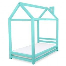 Dětská tyrkysová postel z borovicového dřeva Benlemi Happy,90x180cm