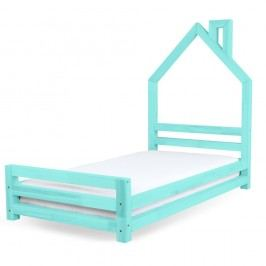 Dětská tyrkysová postel z borovicového dřeva Benlemi Wally,80x200cm