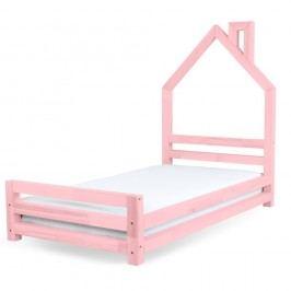 Dětská růžová postel z borovicového dřeva Benlemi Wally,120x200cm