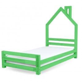 Dětská zelená postel z borovicového dřeva Benlemi Wally,120x200cm