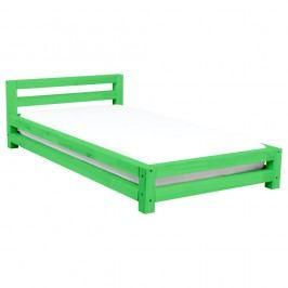 Zelená jednolůžková postel z borovicového dřeva Benlemi Single,80x200cm