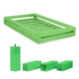 Set zelené zásuvky pod postel a 4 prodloužených nohou Benlemi,propostel90x180cm