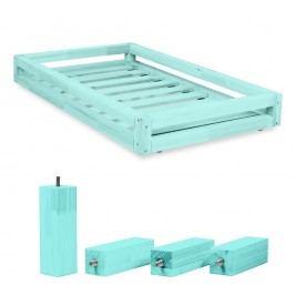 Set modré zásuvky pod postel a 4 prodloužených nohou Benlemi,propostel80x200cm