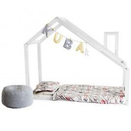 Bílá postel s vyvýšenými nohami a bočnicemi Benlemi Deny, 80x200cm,výška nohou20cm