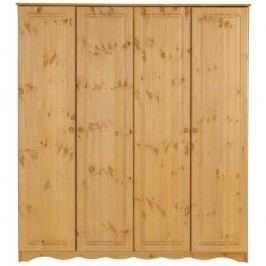 Čtyřdveřová šatní skříň z masivního borovicového dřeva Støraa Amanda