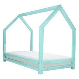 Tyrkysová jednolůžková postel z borovicového dřeva Benlemi Funny, 90x200cm