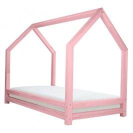 Růžová jednolůžková postel z borovicového dřeva Benlemi Funny, 90x200cm
