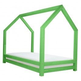 Zelená jednolůžková postel z borovicového dřeva Benlemi Funny, 80x200cm