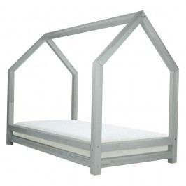 Světle šedá jednolůžková postel z borovicového dřeva Benlemi Funny, 90x160cm