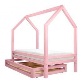 Set růžové zásuvky a 4 přídavných nohou k posteli Benlemi Funny, 90x160cm