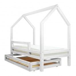 Set bílé zásuvky a 4 přídavných nohou k posteli Benlemi Funny, 80x180cm