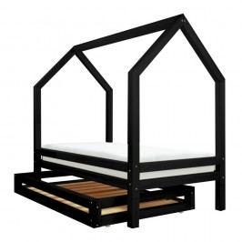 Set černé zásuvky a 4 přídavných nohou k posteli Benlemi Funny, 80x200cm