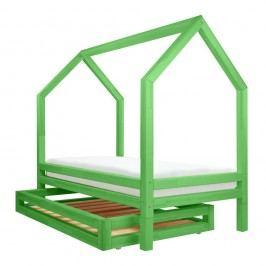 Set zelené zásuvky a 4 přídavných nohou k posteli Benlemi Funny, 90x160cm