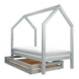 Set světle šedé zásuvky a 4 přídavných nohou k posteli Benlemi Funny, 80x160cm