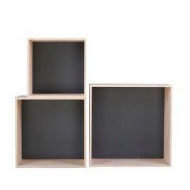 Sada 3 černých poliček Nørdifra Cubes
