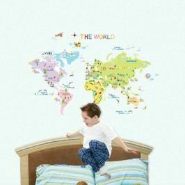 Sada nástěnných samolepek Ambiance World Map for Children