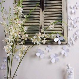 Sada 12 bílých adhezivních 3D samolepek Ambiance Flowers