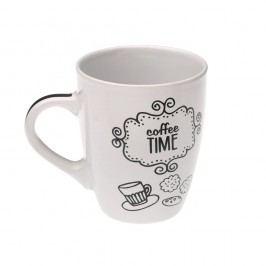 Bílý keramický hrneček Versa Coffee Time, 350 ml