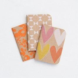 Sada 3 zápisníků Caroline Gardner Layered Hearts Pocket Notebook