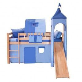Modrý bavlněný hradní set pro dětské patrové postele Mobi furniture Luk a Tom