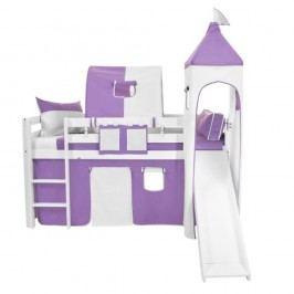 Fialovo-bílý bavlněný hradní set pro dětské patrové postele Mobi furniture Luk a Tom