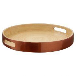 Servírovací podnos z bambusu v barvě růžového zlata Premier Housewares, ⌀ 30 cm