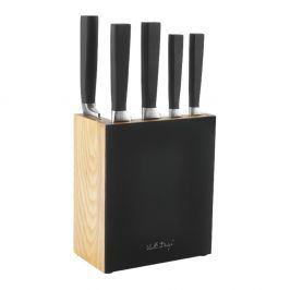 Sada 5 nožů s černým stojanem Vialli Design Fino