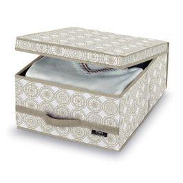 Béžový úložný box Domopak Ella, výška18cm